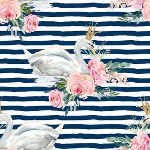 "18"" Graceful Swan - Navy Stripes"
