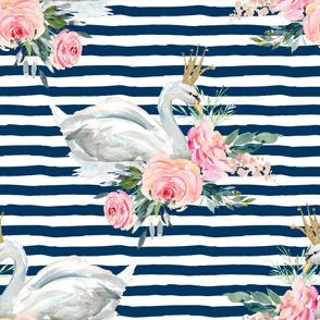 "36"" Graceful Swan - Navy Stripes"