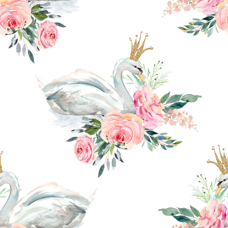 "8"" Graceful Swan - White fabric by shopcabin on Spoonflower - custom fabric"