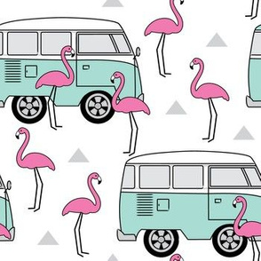 retro camper-vans-and-flamingos
