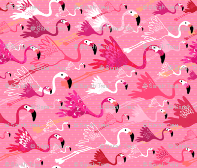 Flying Flamingos - Pink