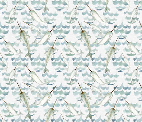 Narwhal Tribe fabric by little_pine_artistry on Spoonflower - custom fabric