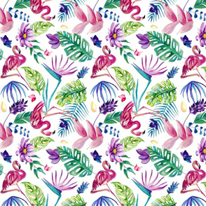 Painted Tropical Flamingo - White Small