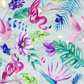 Painted Tropical Flamingo - Acid Washed Small