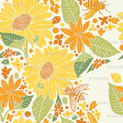 Sunflowers+Bees+Beetles-Beige-Yellow