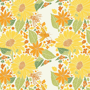 Sunflowers+Bees+Beetles-Beige-Yellow