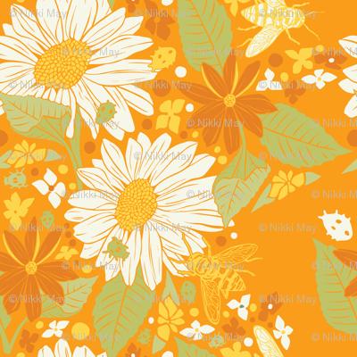 Sunflowers+Bees+Beetles-Orange