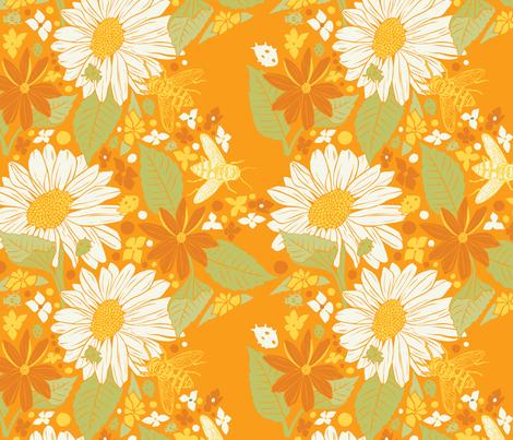Sunflowers+Bees+Beetles-Orange fabric by nikkimay on Spoonflower - custom fabric