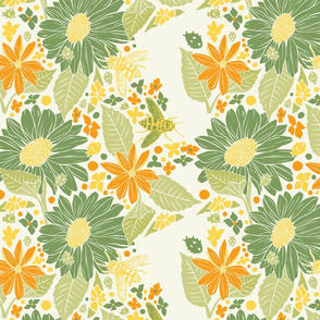 Sunflowers+Bees+Beetles-Beige-Green