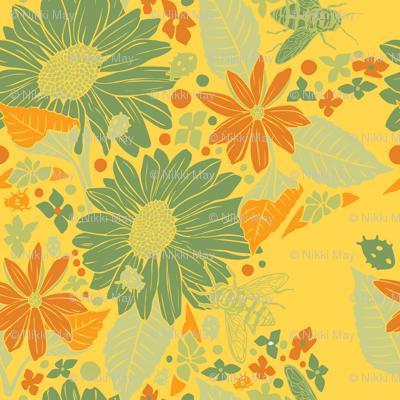 Sunflowers + Bees + Beetles - Yellow
