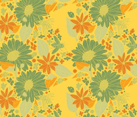Sunflowers + Bees + Beetles - Yellow fabric by nikkimay on Spoonflower - custom fabric