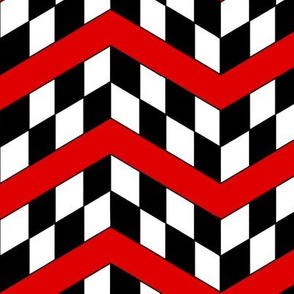 Red Black and White Checkerboard Chevrons