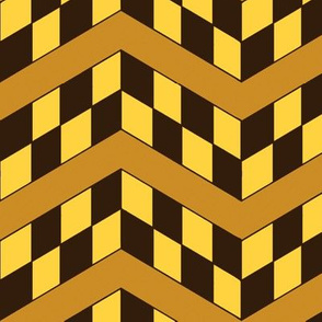 Butterscotch and Chocolate Checkerboard Chevrons