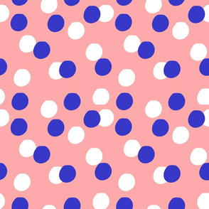 Polka dots - coral, blue and white