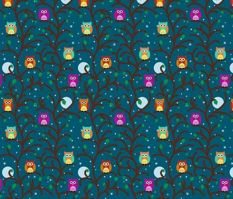 Night Owls fabric by vintage_style on Spoonflower - custom fabric