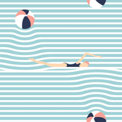 stripy beach balls and babes - aqua