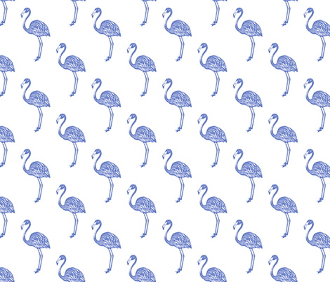 American Flamingo (blue) fabric by thewallpaperfiles on Spoonflower - custom fabric