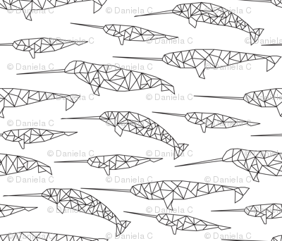 geo narwhales - white and black
