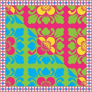 Balinese Flower Motif in Bold Color