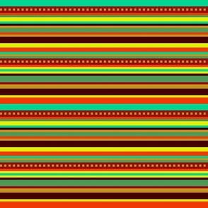 BN12  - Fancy Narrow Variegated Stripes in Orange, Brown, Red, Yellow, Orange Green