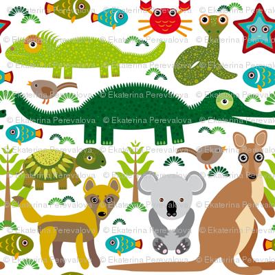 Animals Australia: snake, turtle, crocodile, alligator, kangaroo, dingo.