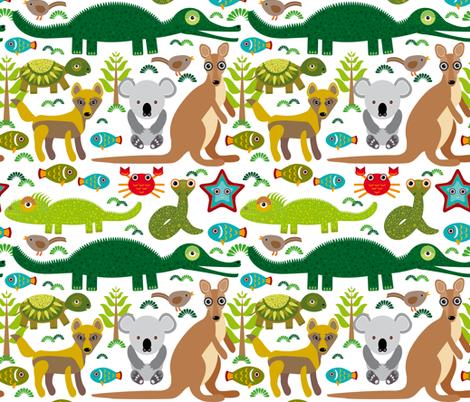 Animals Australia: snake, turtle, crocodile, alligator, kangaroo, dingo.  fabric by ekaterinap on Spoonflower - custom fabric