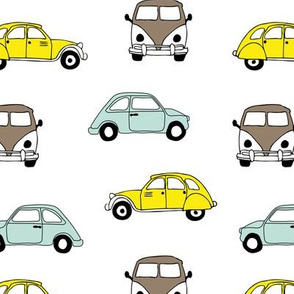 Vintage old timer cars for classic car lovers boys yellow mint