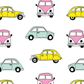 Vintage old timer cars for classic car lovers gender neutral girls pink yellow