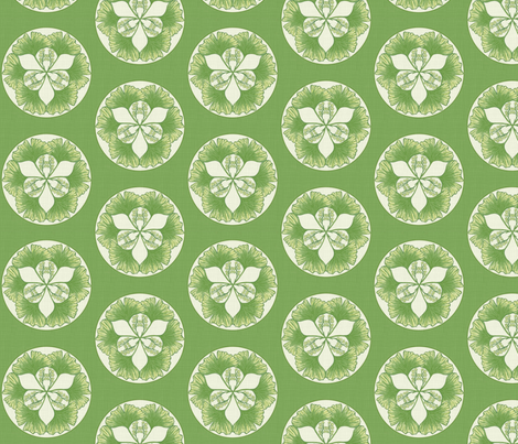 Ginkgo green cream large  fabric by dustydiscoball on Spoonflower - custom fabric
