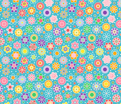 Cute Spring Flowers Blue Background Wallpaper Elsy
