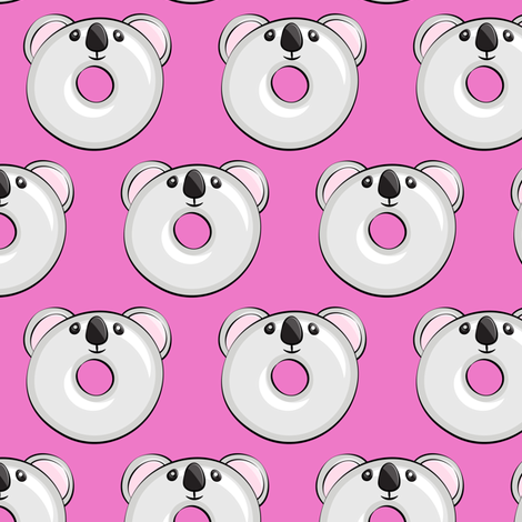 koala donuts - hot pink fabric by littlearrowdesign on Spoonflower - custom fabric