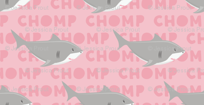 (small scale) Sharks CHOMP - pink