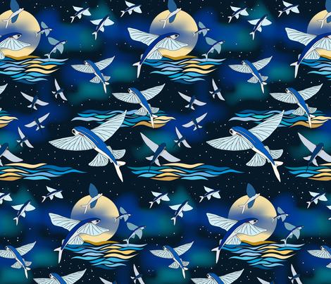 flying fish after dark fabric by kolekine on Spoonflower - custom fabric