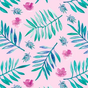 Sweet Hawaii jungle tropical garden theme palm leaves and floral watercolor illustration blue aqua pink