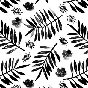 Sweet Hawaii jungle tropical garden theme palm leaves and floral watercolor illustration monochrome black and white