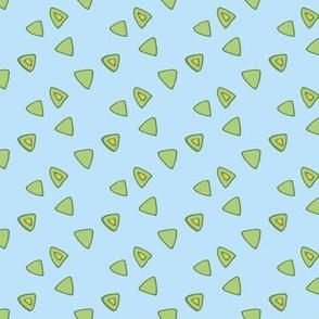 Birds in the sky - Green triangle light blue
