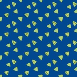 Birds in the sky - Green triangle dark blue