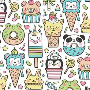 Animals Sweets Candy Ice Cream & Donuts on White