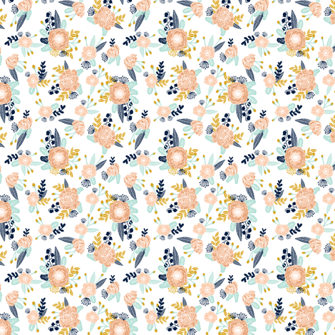 florals (very small) peach navy blue mint gold flowers painted floral painted flowers fabric nursery floral fabric fabric by charlottewinter on Spoonflower - custom fabric