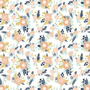 florals (very small) peach navy blue mint gold flowers painted floral painted flowers fabric nursery floral fabric