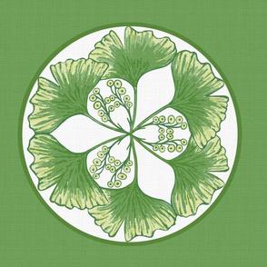 Ginkgo green white cushion sized for fat quarter