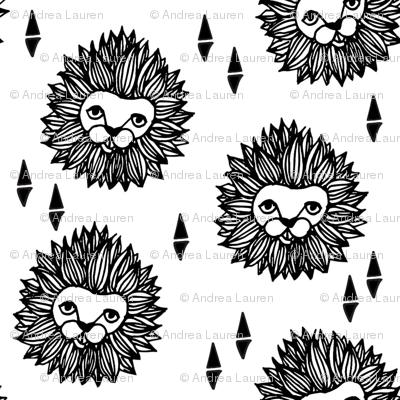 lion head (1 inch) black and white cute safari animal fabric