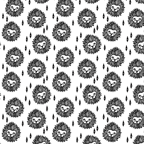 lion head (1 inch) black and white cute safari animal fabric fabric by andrea_lauren on Spoonflower - custom fabric