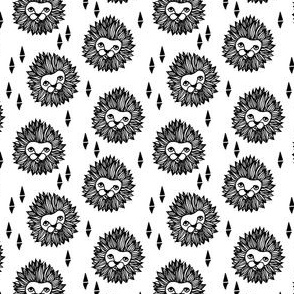 lion head (1 inch) black and white cute safari animal fabric