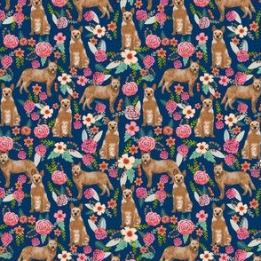 australian cattle dog (Small scale) red heeler fabric florals dog design floral fabric