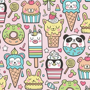 Animals Sweets Candy Ice Cream & Donuts on Pink