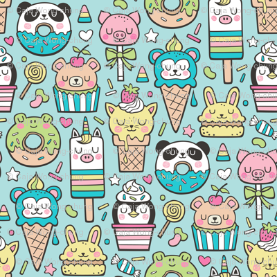 Animals Sweets Candy Ice Cream & Donuts on Blue