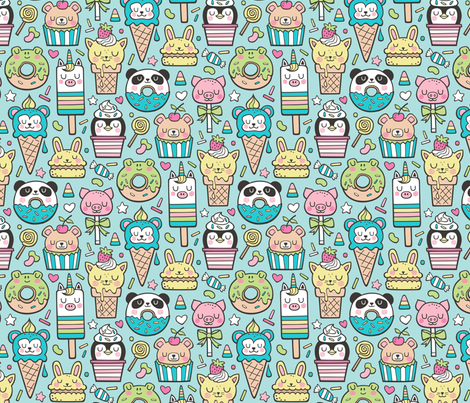 Animals Sweets Candy Ice Cream & Donuts on Blue fabric by caja_design on Spoonflower - custom fabric