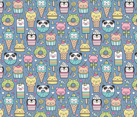 Animals Sweets Candy Ice Cream & Donuts on Dark Blue Navy fabric by caja_design on Spoonflower - custom fabric