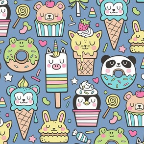 Animals Sweets Candy Ice Cream & Donuts on Dark Blue Navy